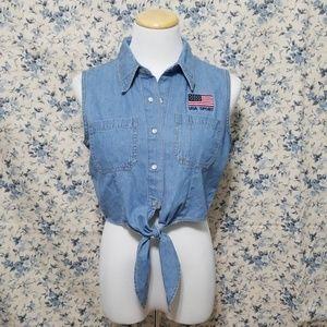 Vintage 90s cropped denim tie knot top Flag USA